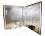 ТШ-1-УХЛ1 Термошкаф 'Амадон' всепогодный с обогревом, без вентиляции. Размеры (ШхВхГ): 600x600x210 мм. Автоматическое отключение питания установленной аппаратуры в случае аварийного понижения температуры. Подключение аппаратуры: розетка 2p+N, клеммы 2х2х2,5 мм2. Мощность обогрева: 150 Вт. Класс защиты IP66. Климатическое исполнение УХЛ1 (размещение на улице, t = -60...+50 С). Гермовводы PG 29-3шт.. Крепление на стену.