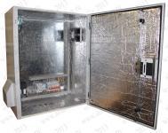 ТША612-60.76.35-300-У1Термошкаф 'Амадон' , антивандальный , с монтажной панелью , всепогодный с обогревом - 300 Вт. Размеры (ШхВхГ): 600x760x350 мм. Вентиляция с фильтрами IP55, пропускная способность 45/80 м3/час. Класс защиты IP55. Исполнение У1 (от -45 С). + напольное основание ( высота 1000мм).Автоматический выключатель ( 3p c10). Кабельные вводы - PG-42 (2шт.).PG-36 (1шт.)